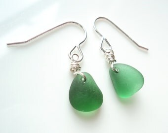Seaham Sea Glass hook earrings of Bright Green drops suspended from Sterling Silver hooks - E1787 - from Seaham,  UK
