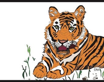 bengal tiger illustration art print
