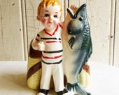 Mid-Century Inarco Boy with Big Fish Planter - Vintage  1950s Ceramic Fishing Planter - Fisherman Gift, Father's Day Gift - Desk Storage