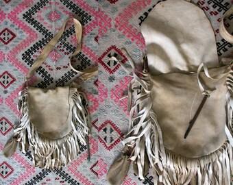 Antique Deerskin Native American Fringe Shoulder Bag , Purse , Buck-skin Cross Body Bag, Vintage