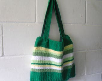 Tote Bag Hand Knitted Green Striped Bag