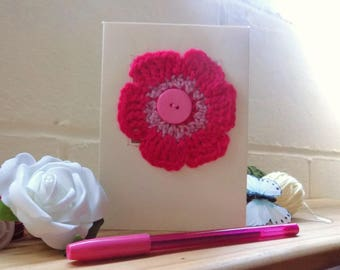 Crochet Flower Greetings Card, Bright Pink Flower Card, Birthday Card, Mothers Day Card