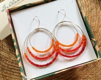 Red Venetian Bead Silver Open Circle Earrings Red Ombre Earrings Minimal Silver Hoop Dangles Lightweight Triple Loop Earrings