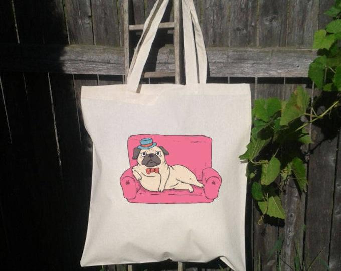 Pug Tote Bag, Reusable Tote Bag, Couch and Pug , Grocery Bag, Dog Tote