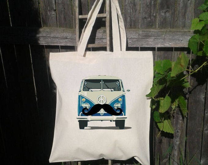 VW Bus Tote, Tote Bag, Reusable Tote Bag, Grocery Bag, Mustache VW