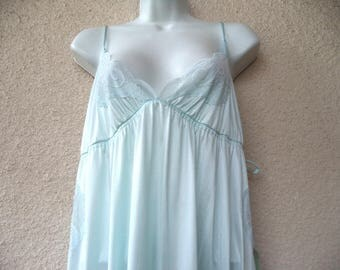 """1970s Long NIGHTGOWN. Open Sides. Pale Blue Nightgown. Sexy Nightgown. Plunging Neckline. Lace Trim. Honeymoon Lingerie. XXL. 50"""" Bust. NWT"""