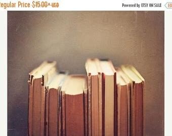 Book Print: Old Favourites Fine Art Photography Book Worm art print Bibliophile Still life Photography Books Reader Brown, Library Decor