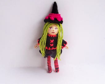 Little Witch, 2.5 inch tiny pocket bendy doll, dollhouse doll, miniature doll, ooak doll, handmade doll, hand-painted doll