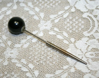 Vintage Hat Pin Jabot with Black Celluloid Ball Top with Base Screw
