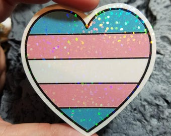 Holographic Sticker - Trans flag heart