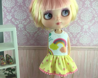 Blythe Drop Waist Dress - Rainbow and clouds