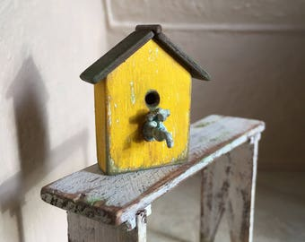Dollhouse Miniature Birdhouse in Yellow with White Undertones