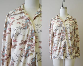 1970s Bird and Floral Print Shirt