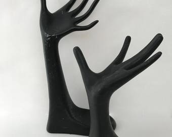 Two Black Plaster Display Hands