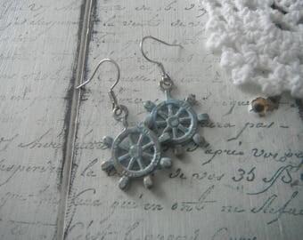 nautical ear rings ships wheel ear rings distressed ship wheel shabby chic bohemian jewelry fish hook wires beach ear rings hypo allergenic