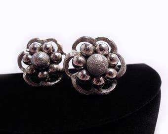 Kramer Brushed Silvertone Earrings, ca. 1960s - AS IS