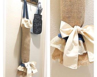 Grocery bag holder- plastic bag holder- Burlap plastic bag holder- bag organizer- kitchen bag holder- kitchen bag organizer- Housewarming gi