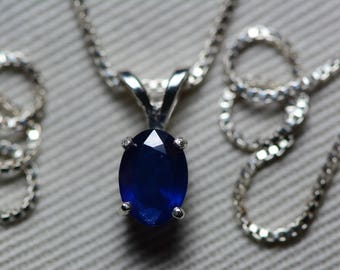 Sapphire Necklace, Blue Sapphire Pendant 1.07 Carat Appraised at 850.00, September Birthstone, Natural Sapphire Jewelry, Oval Cut