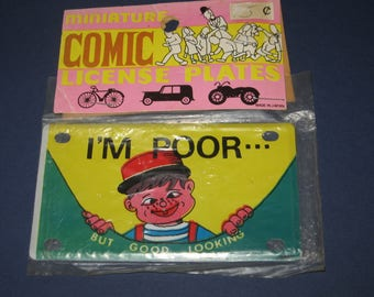 """Miniature Comic License Plates I'm Poor..But Good Looking 4"""" Metal Toy Plate for Bikes JAPAN Free Shipping"""