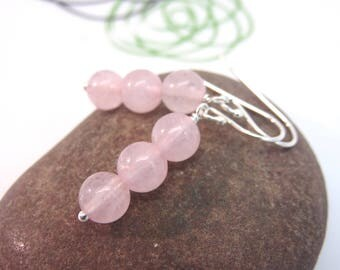 Rose quartz earrings - sterling silver earrings - pink gemstone earrings - rose quartz bead stack earrings - pink earrings