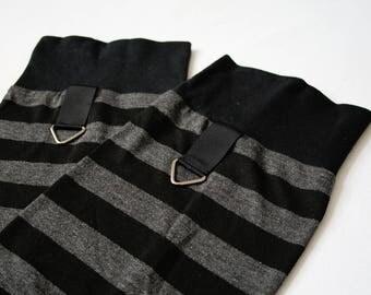Leg Warmers Grey Stripes - gothic punk urban black over the knee