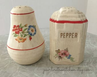 Vintage Red and Cream Floral Salt and Pepper Shakers