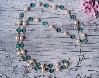 Teal Crystal and Pearl Bezel Set Necklace