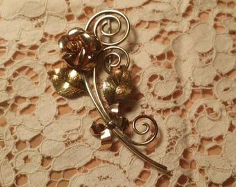 LOVELY Goldtone Flower Pin by Krementz VINTAGE