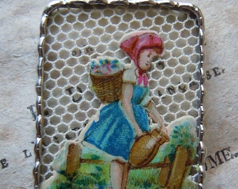 Fiona & The Fig - Victorian - Die Cut Scrap - Young Girl Watering the Garden - Soldered Charm - Necklace - Pendant-Jewelry