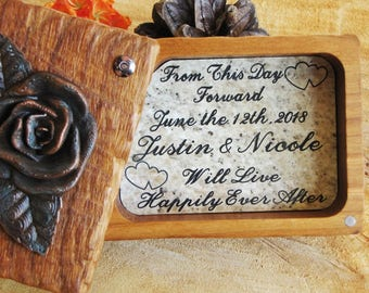 Rustic Wood Ring Box, Personalized Ring Box, Wood Ring Box, Ring Bearer Pillow, Jewelry Box, Rustic Wedding, Rustic Rose Ring Box