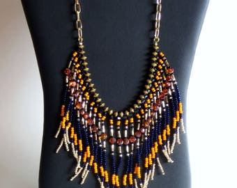 Native American necklace, Native American Jewelry, Beaded Necklace, Boho, Statement Necklace, Tribal Necklace