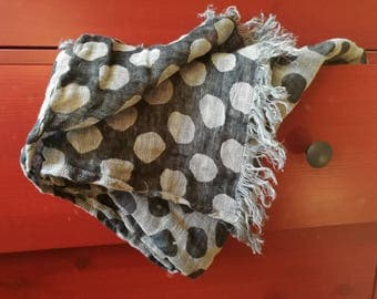 Linen Scarf with big bubles--Black & White colors-Natural-Pure Linen