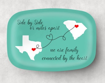 Personalized Platter Miles Apart Family State Platter  Personalized Melamine Platter  Custom State Platter, Monogram Platter, Melamine