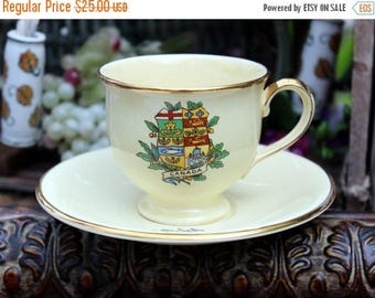 ON SALE Royal Winton Grimwades Canada Crest Porcelain Cup and Saucer -  Coat of Arms 11276