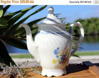 ON SALE Chocolate or Coffee Pot, Blue and White, Large Schmidt Porcelain Pot 13643