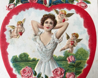 "1908 Embossed Vintage Valentine's Postcard with Lovely Lady and Cupids ""To My Valentine"""