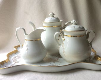 French Porcelain Coffee/Tea  Set-Empire Style Heirloom Wedding Dishes-Paris Fleamarket Chic