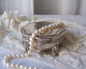 Vintage Silver Plate Jewelry Box Burgundy Lining Dresser Trinket Box Vintage 1960s