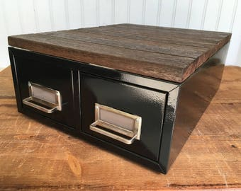 Two Drawer Vintage Steelmaster Metal File or Card Catalog Box with Rustic Wood Top - Upcycled
