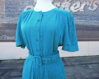 Vtg 80's Turquoise Teal Flax Rayon Nubby Woven Gathered Puff Sleeve Belted Dress Small Medium 30's 40's Style