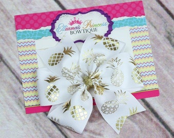 Baby Bows, Toddler Bows, Girls Hair Bows, Hair Clip, Gold White Pineapple Hair Bow Headband, Pinwheel Hair Bow, 4 Inch Hair Bow