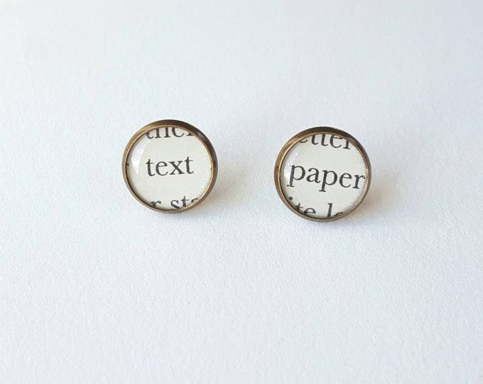 Text and Paper Earrings - Bookish Earrings - Snail Mail Love Paper Earrings - Bookish Jewelry - Librarian Earrings