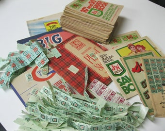 Huge Bundle Vintage Trading Stamps S&H Green Top Value Quality MacDonald Plaid Big Bonus ALL Past Styles Issued Books With Some Loose Fun
