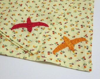 Large Yellow Bandana with Embroidered Birds Upcycled Neckerchief Hair Bandana