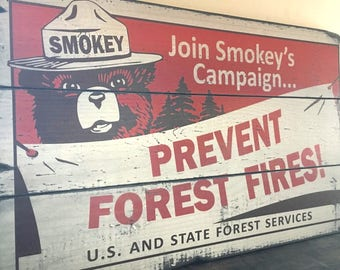 Smokey Bear, Prevent Forest Fires, Handcrafted Rustic Wood Sign, Mountain Decor for Home and Cabin, 3151