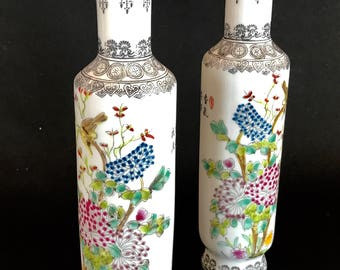 "Pair of Chinese Porcelain HAND Painted Cylindrical Vases / Signed / 10"" H"