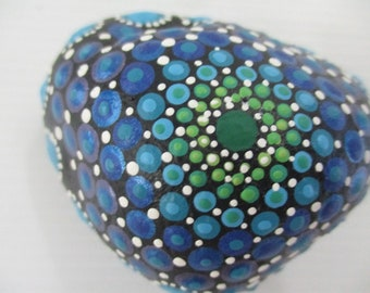 Dot painting on stone - hand painted 'Rock Mandala' - Blue shades