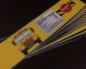 Yellow School Bus Party Theme Inspired Labels - Back to School Party Theme - Transportation Party Bus Theme - Custom Water Bottle Label 24ct