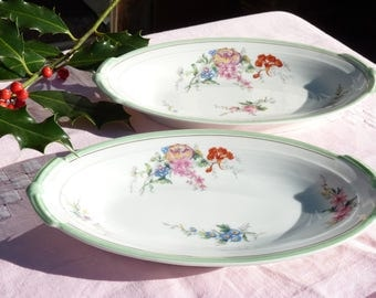 Two Lovely French Vintage Porcelain Floral Serving Plates - Appetizer Plates - Limoges Porcelain - French Rustic - Table Decor - Cake Plate