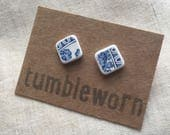 Tumbled China Ear Studs  Blue and White  homemade sea pottery sterling silver  Tumbleworn